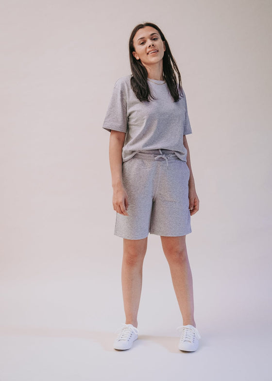 Unisex Organic Cotton 90's Jogger Shorts in Heather Grey from Sancho's in Exeter, Devon, UK.