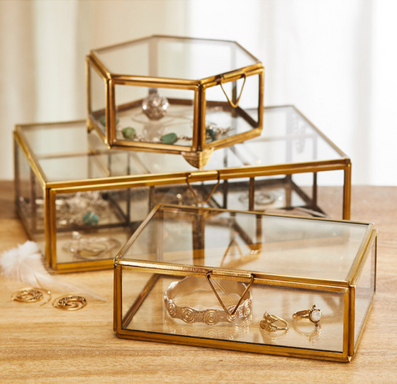 Glass and Antique Brass Box