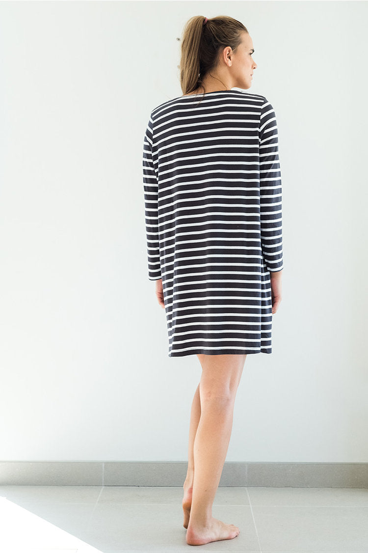 Stripe Charcoal Swing Nightshirt-Nightwear-Sancho's Dress