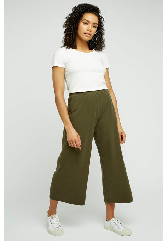 Organic Cotton Loose Fit Chandre Trousers in Khaki from People Tree