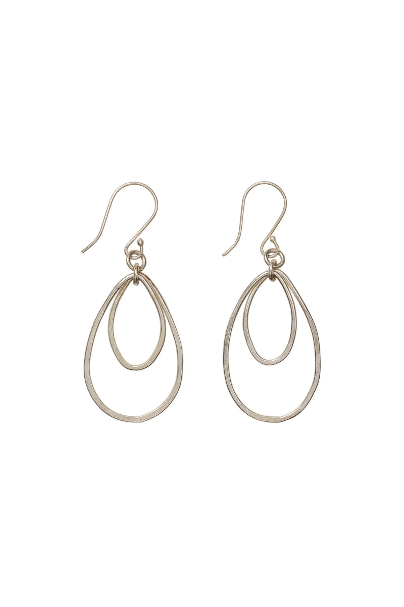 Oval Drop Earrings in Silver-Earrings-Sancho's Dress