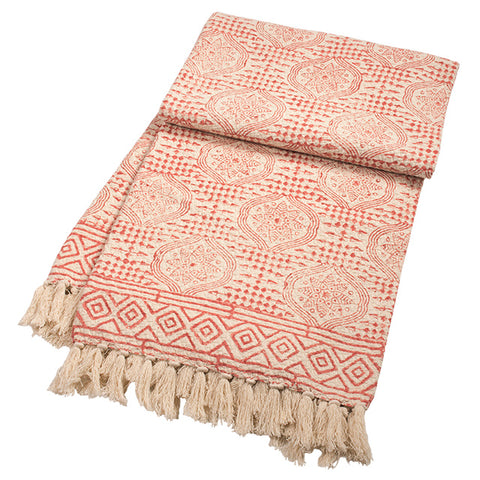Blockprint Red Throw with Tassels-Homeware-Sancho's Dress
