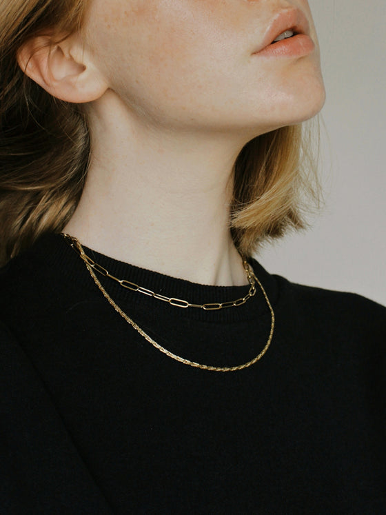Handmade 18k Gold Plated Layered Chain Necklace in Gold Eco friendly Statement Jewellery from A Weathered Penny