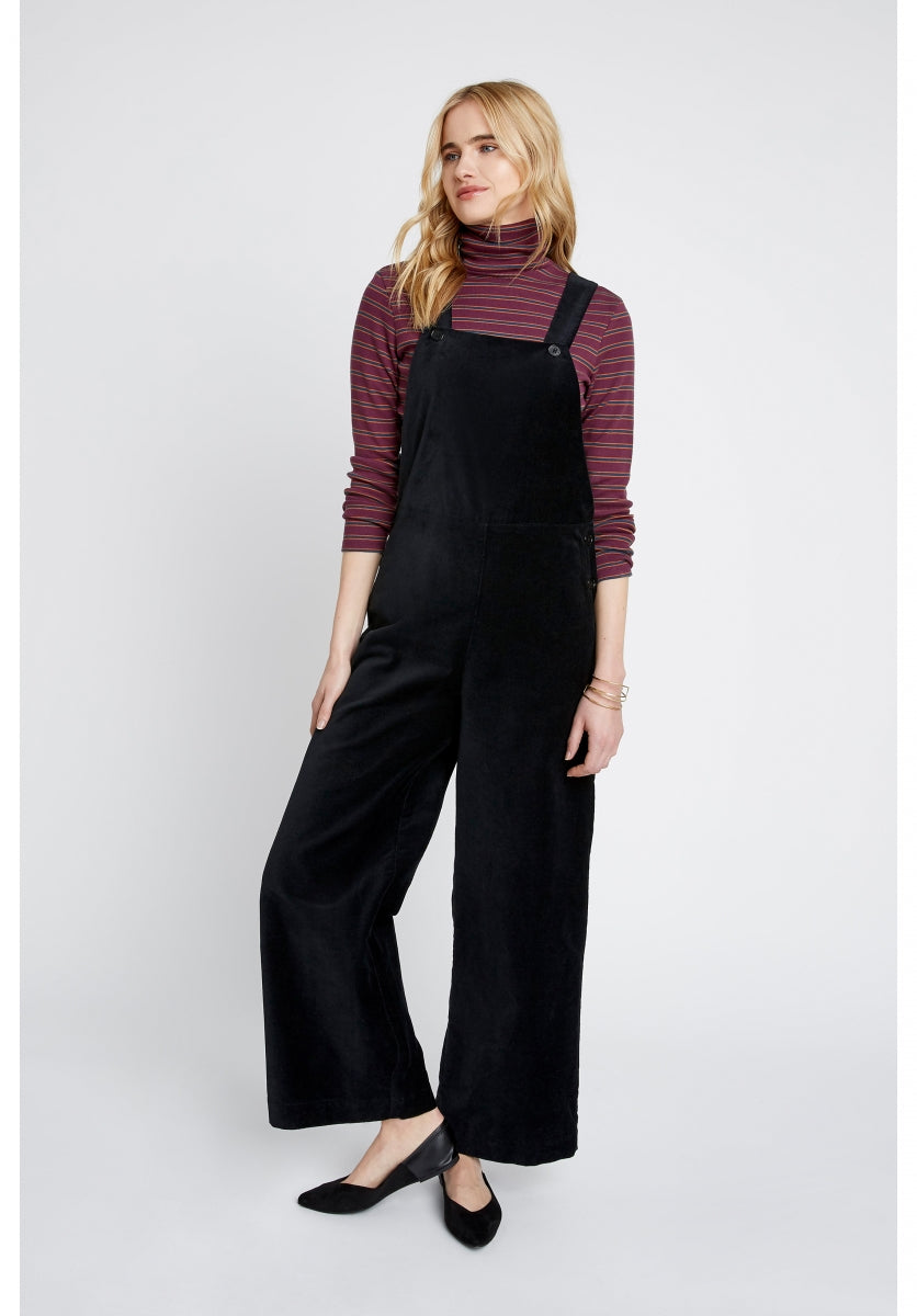 Ali Velvet Dungarees in Black-Dungarees-Sancho's Dress
