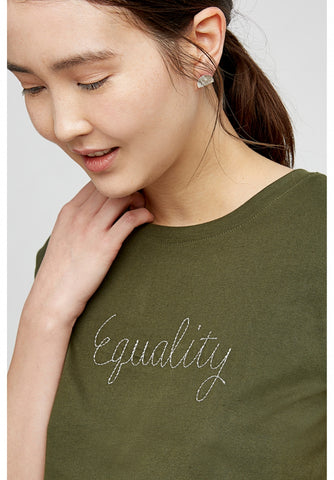 Equality Embroidered Tee in Khaki-Top-Sancho's Dress