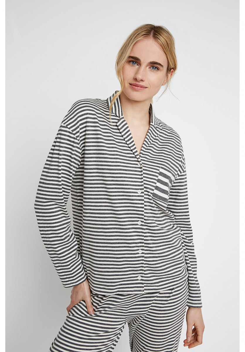 Stripe Pyjama Shirt in Grey Melange-Shirt-Sancho's Dress