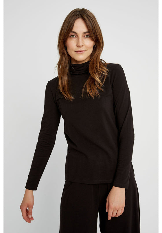 Laila Roll Neck Top in Black-Top-Sancho's Dress