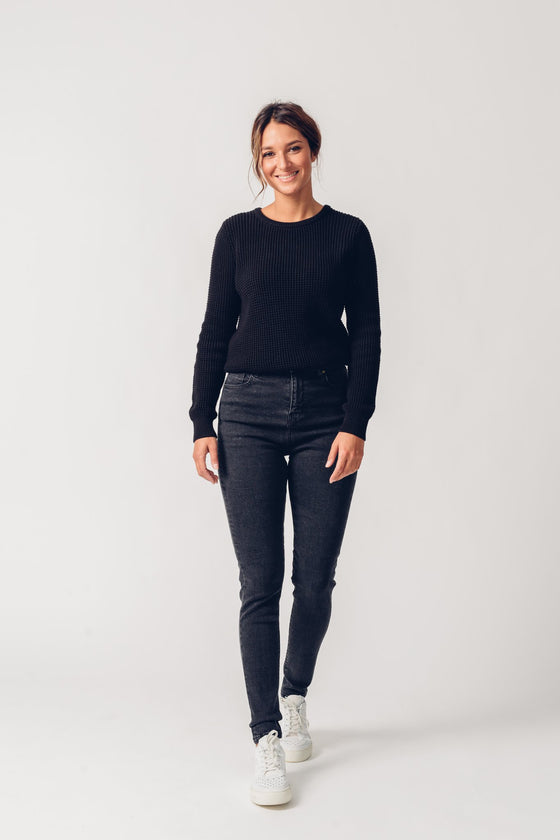Ethical High-waisted Super Skinny Organic Cotton Jeans in Dark Grey from United Change Makers
