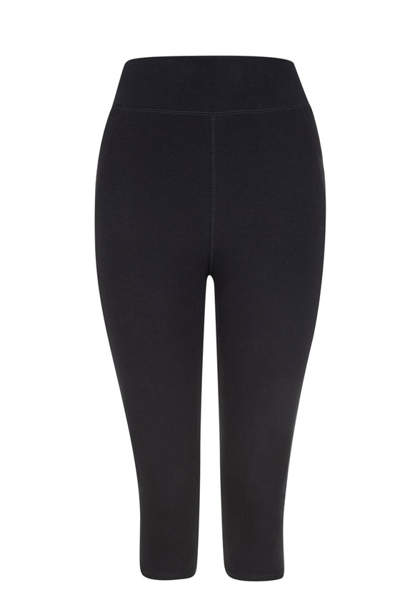 Organic Cotton Yoga Cropped Stretch Leggings in Black from People Tree