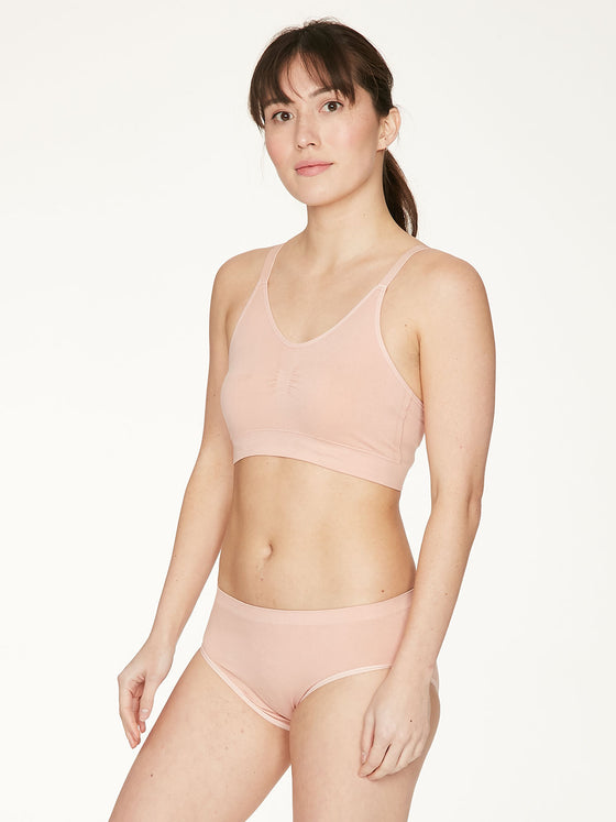 Recycled Nylon Bralet in Blush Pink Nude from Thought