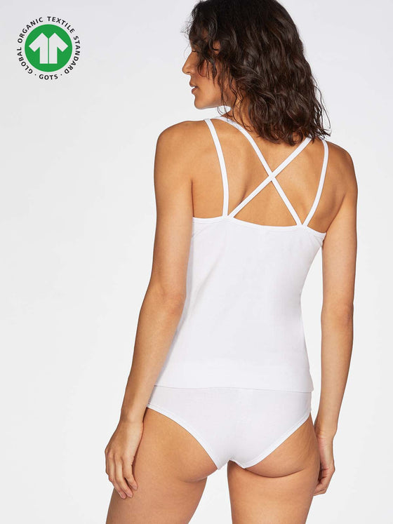 Organic Cotton Leah Cami Basic Top in White from Thought at Sancho's in Exeter, UK