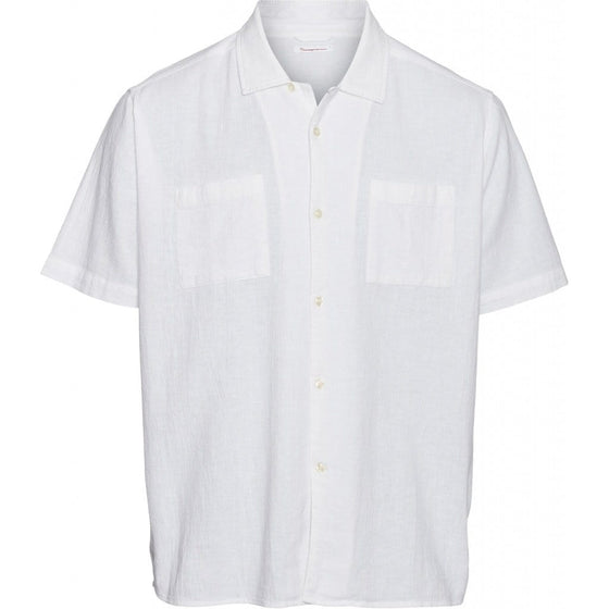 100% Linen Wave Short Sleeve Shirt in Bright White from Knowledge Cotton Apparel