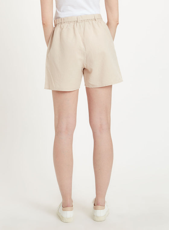 Shorts Linen Mix in Beige-Shorts-Sancho's Dress
