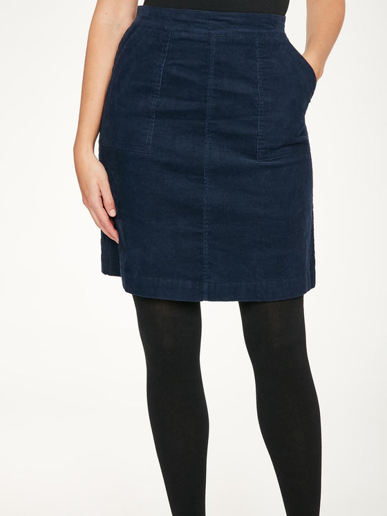 Organic Cotton Omelia Cord skirt in Blueberry Blue from Thought