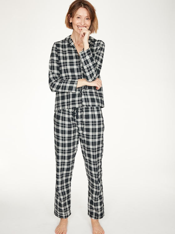 Organic Cotton Tehran Check Pyjama Shirt in Midnight Navy Blue from Thought