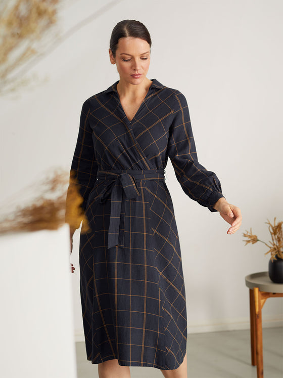 Hemp Murray Check Print Wrap Dress in Midnight Navy Blue from Thought