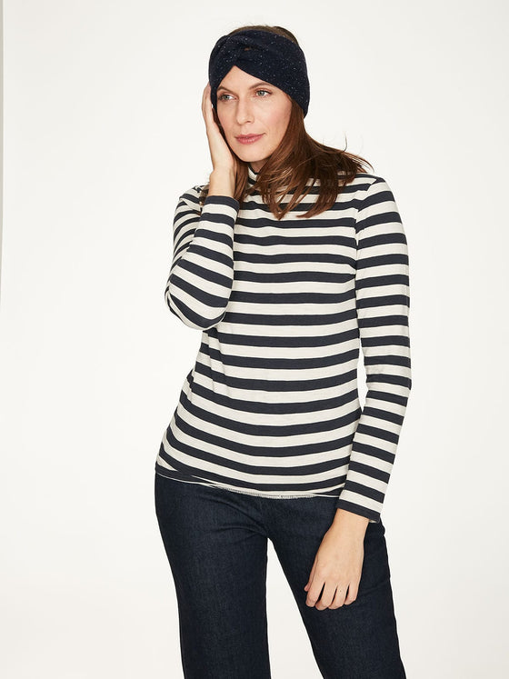 Organic Cotton Rainer Striped Roll Neck Top in Midnight Navy Blue from Thought