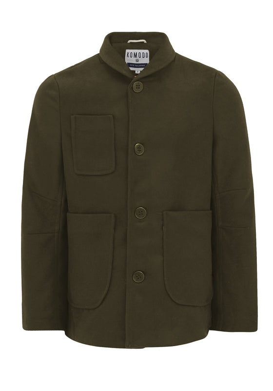 Recycled PET Jude Pea Coat in Olive Green from Komodo