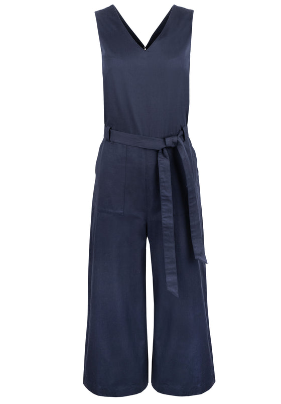 100% Organic Cotton Vesta Jumpsuit in Navy from People Tree