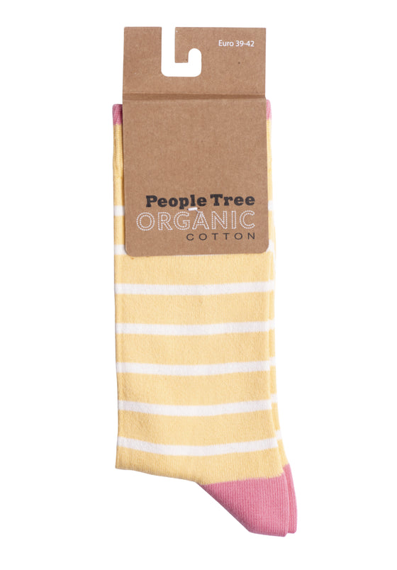 Organic Cotton Striped Socks in Yellow and Pink from People Tree