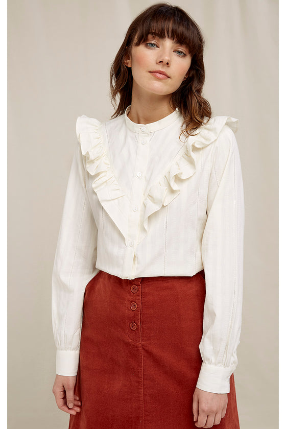Sustainable Organic Cotton Ruffle Shirt in Ivory White from Black-owned Sancho's Exeter UK