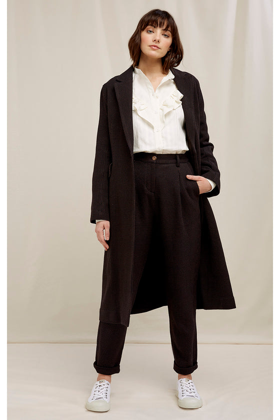 Organic Cotton Lynne Coat in Black Jacquard from People Tree