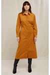 Organic Cotton Aina Corduroy Shirt Dress in Mustard Yellow from People Tree