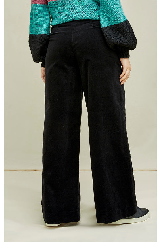 Caren Velvet Trousers in Black