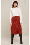 Organic Cotton Rachel Velvet Skirt in Cinnamon Brown from People Tree