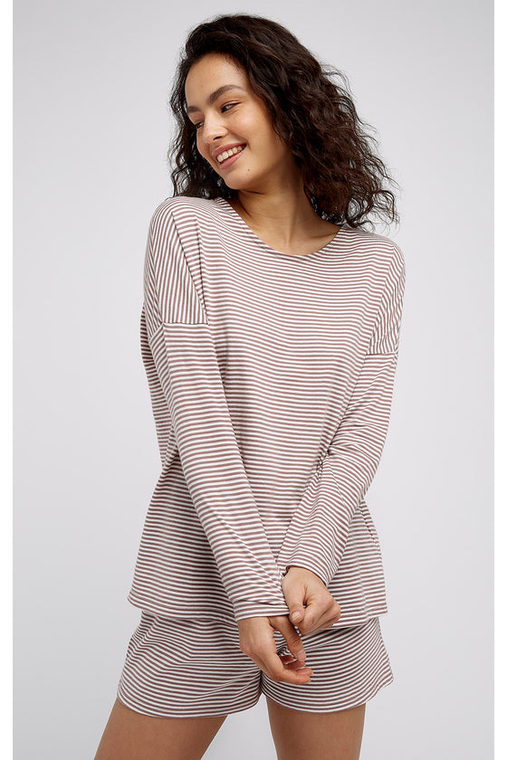 Organic Cotton Striped Long Pyjama Top from People Tree