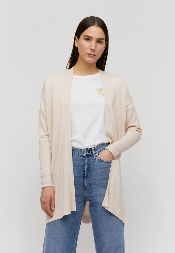 Sustainable and Ethically Made Lyocell Tencel Beige Cardigan from Affordable and Black-Owned Sanchos in Exeter