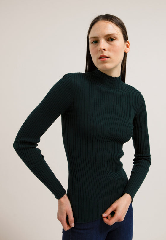 Organic Cotton Long Sleeve Top in Dark Green from Affordable Sancho's UK