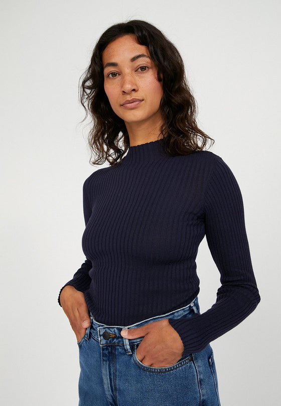Organic Cotton Long Sleeve Top in Dark Blue from Affordable Sancho's UK
