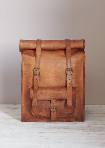 Leather Rolltop Backpack-Bag-Sancho's Dress