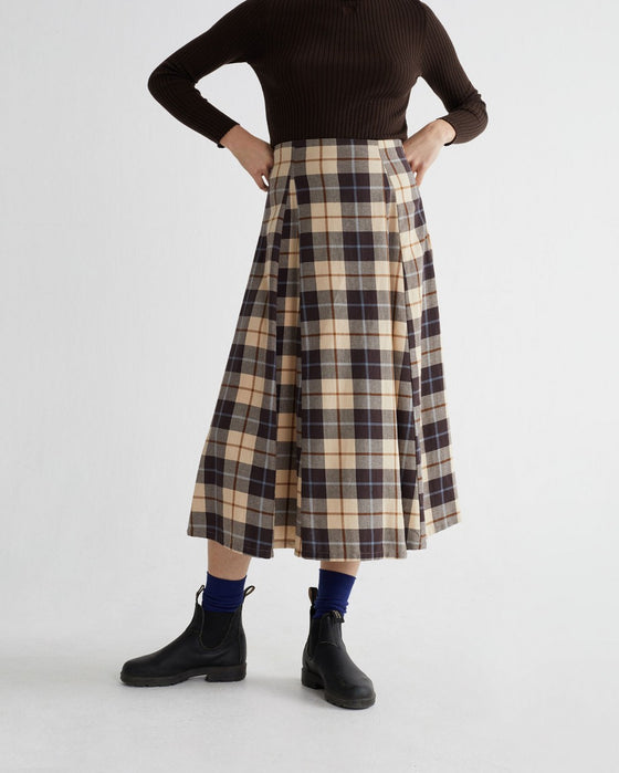 Sustainable Organic Cotton Midi Skirt in Check Print from Affordable Sancho's in Exeter, UK
