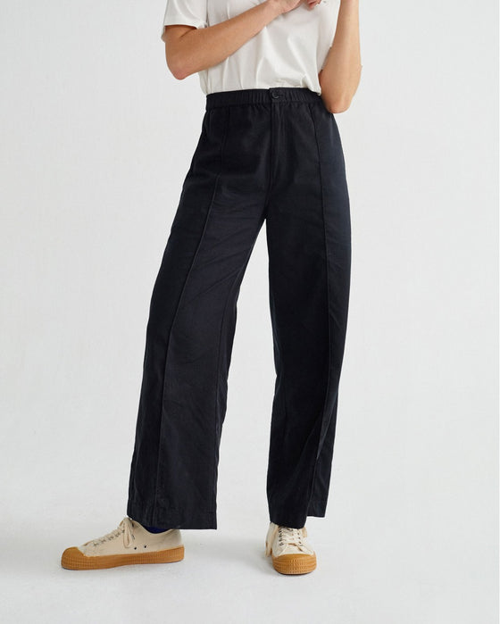 Affordable Organic Cotton Wide Leg Trousers in Black from Woman-Led Sancho's UK