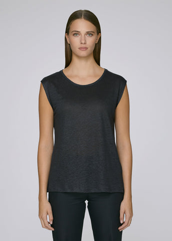 She Sparkles Linen Black-T-shirt-Sancho's Dress