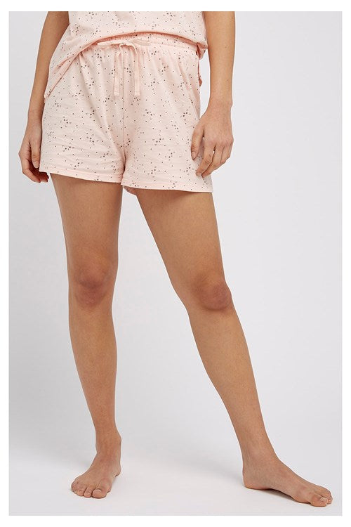 Cat Print Pyjama Shorts in Pink