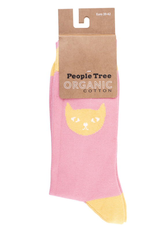 Organic Cotton Cat Socks in Pink from People Tree