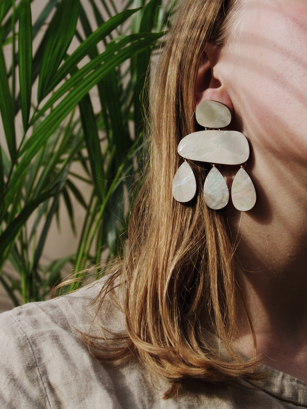 Cloud Earrings in Mother of Pearl-Earrings-Sancho's Dress