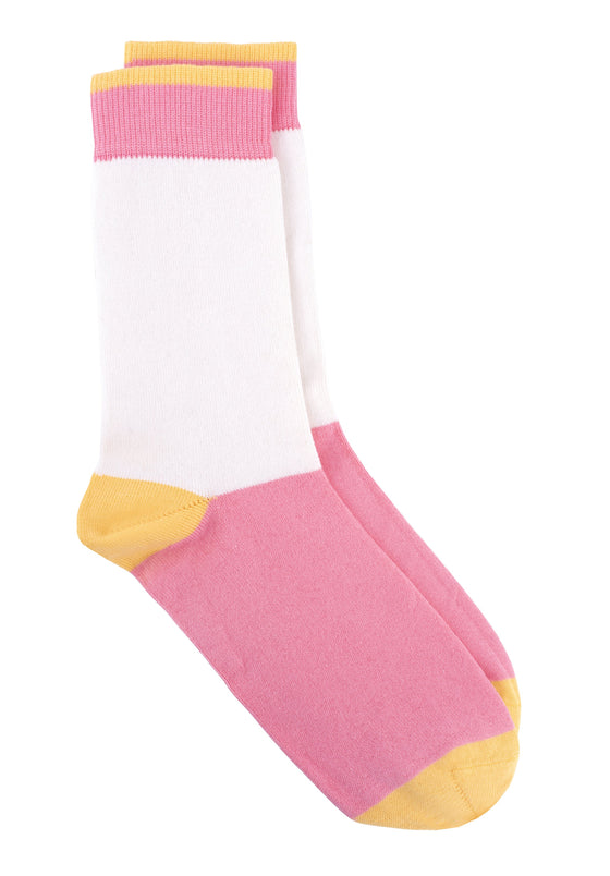 Organic Cotton Colour block Socks in Pink from People Tree