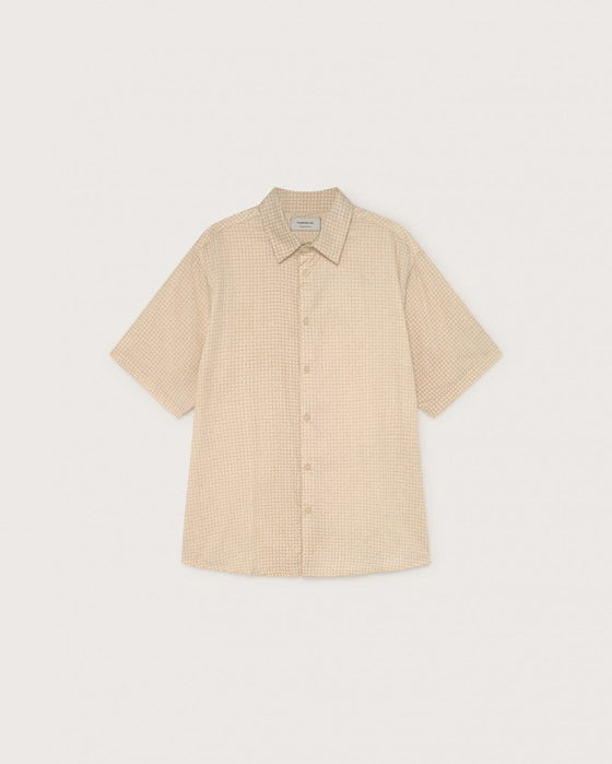 Organic Cotton Cuadros Check Tom Shirt in Sand from Thinking MU
