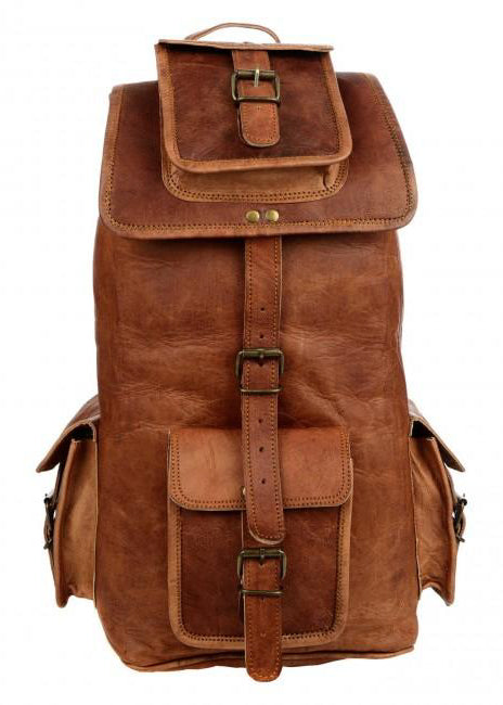 Large Brown Leather Rucksack-Bag-Sancho's Dress