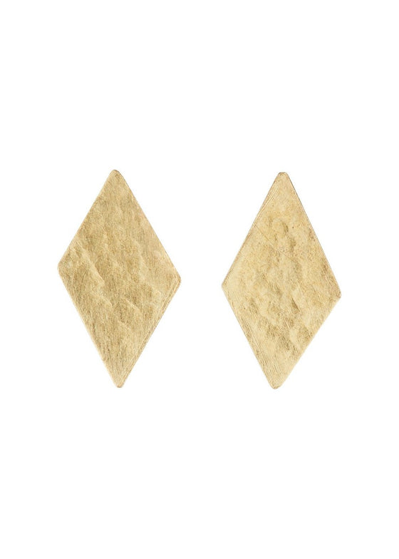 Diamond Stud Earrings in Brass-Earrings-Sancho's Dress