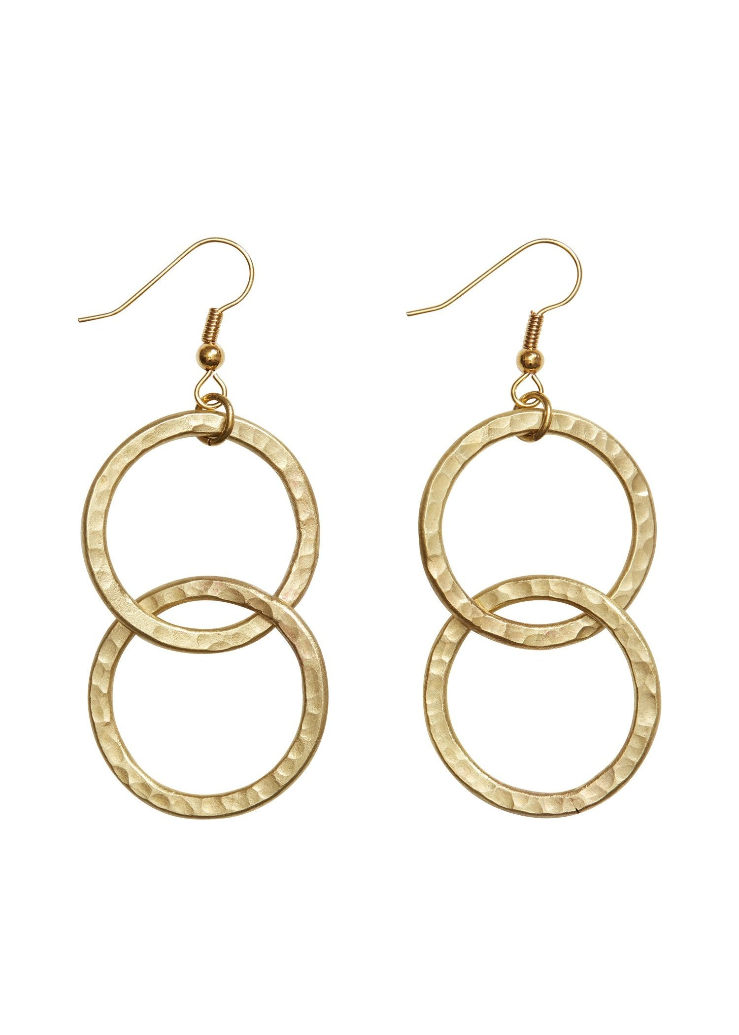 Double Circle Earrings in Brass-Earrings-Sancho's Dress
