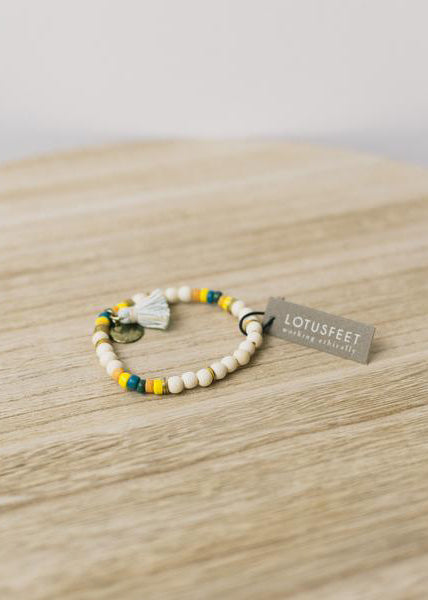 White Wood Tassel Bracelet-Bracelet-Sancho's Dress