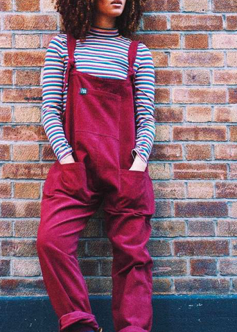 Lucy and Yak Dungarees Corduroy Burgundy-Dungarees-Sancho's Dress