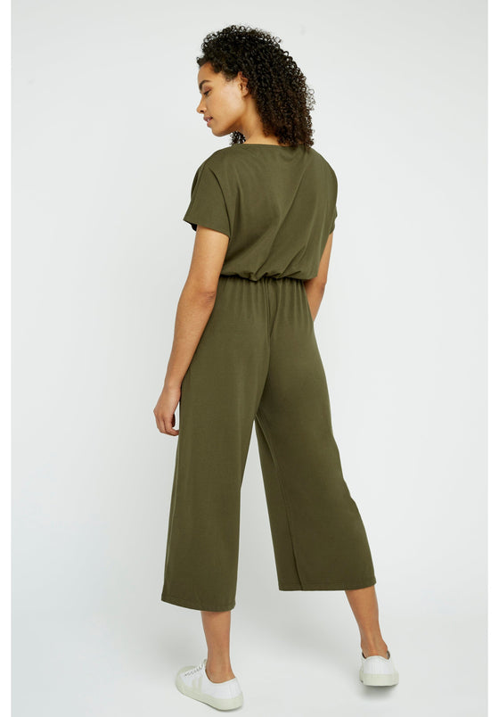 Evelyn Culotte Jumpsuit in Khaki