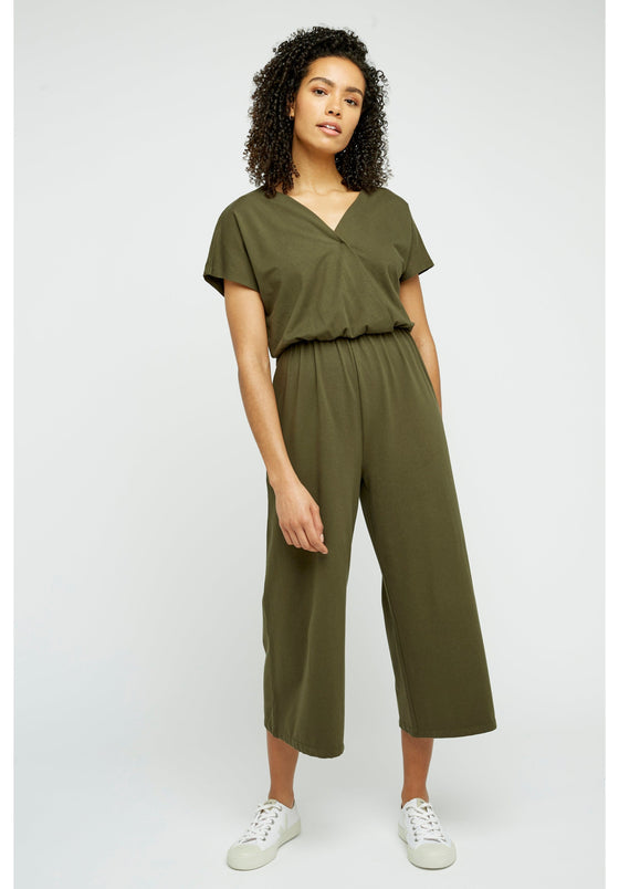 Organic Cotton Evelyn Culotte Jumpsuit in Khaki from People Tree