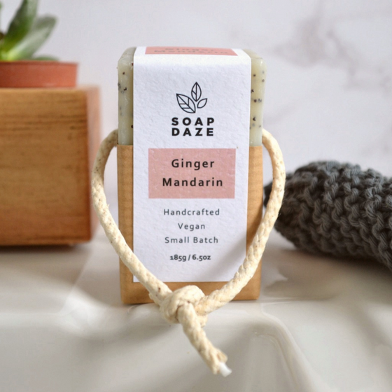 Natural, Zero waste, Ginger & Mandarin Soap on a Rope from Soap Daze